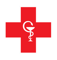 the red cross with the bowl of hygeia vector image