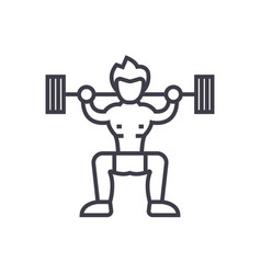 weightlifter concept thin line icon symbo vector image vector image