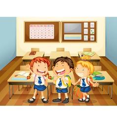 kids in classroom vector image