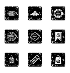 Large discounts icons set grunge style vector
