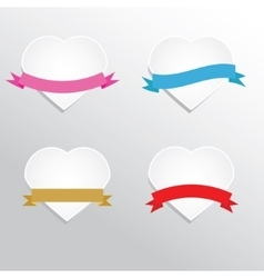 Paper hearts with ribbons vector