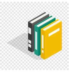 Three books of encyclopedia isometric icon vector