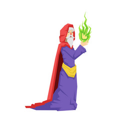 Old wizard in a red cape holding green magic ball vector