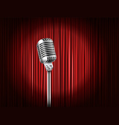 Stage curtains with shining microphone standup vector