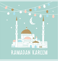Silhouette of hand drawn mosque with garlands of vector