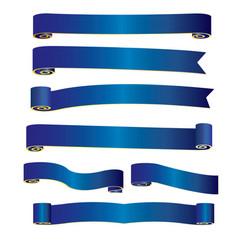 Blue ribbon banner image vector