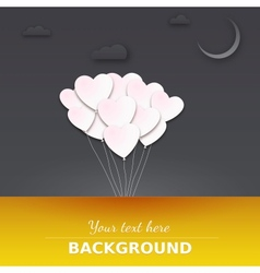 Balloons in the night sky Greeting card with place vector image