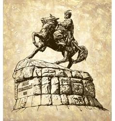 Monument of famous ukrainian hetman bogdan vector