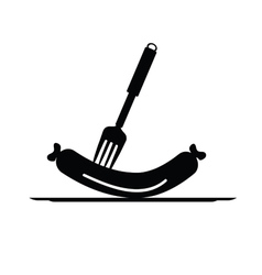 Sausage and fork black vector