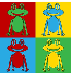 Pop art frog icons vector image