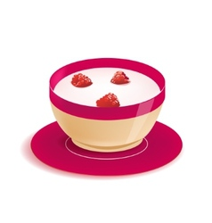 Yogurt in plate with berries isolated vector