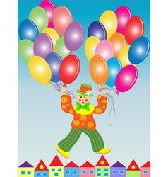clown flies on the balloons vector image