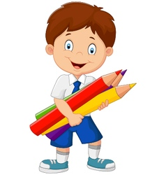 Cartoon school boy holding colorful pencils vector