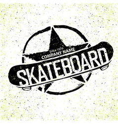 Skateboard logotype grunge with star vector
