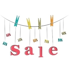 Word sale hanging on the rope vector