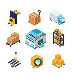 Warehouse and logistics equipment icon set flat vector