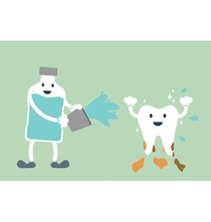 Teeth cleaning by mouthwash vector