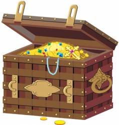 Chest with treasures vector