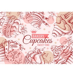 Cupcakes background vector image