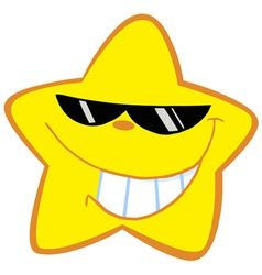 happy little star with sunglasses vector image