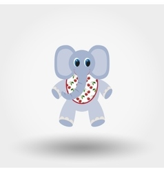 Elephant toy in the bib vector