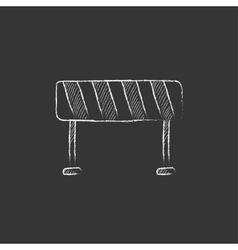 Road barrier drawn in chalk icon vector