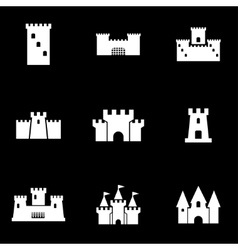 white castle icon set vector image