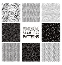 Abstract monochrome seamless background patterns vector