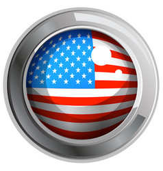 America flag on round icon vector