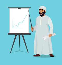 Arab businessman stand and pointing on white board vector