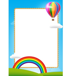 Balloon and rainbow with text box on blue sky vector
