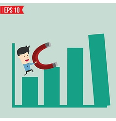 Business man use magnet pull graph - - EPS10 vector image vector image