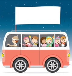 Children On Bus With Flag Driving To Travel vector image vector image