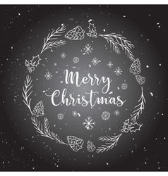 Christmas background with doodle icons vector image vector image