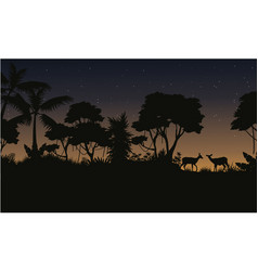 collection stock jungle scenery of silhouette vector image vector image
