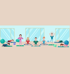 Colorful yoga class flat concept vector