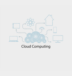 computer cloud numbers vector image vector image