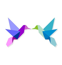 Couple of colorful origami hummingbird vector image vector image