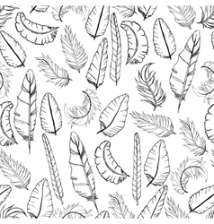 Doodle Feather Pattern vector image vector image
