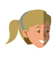 Face woman head smile ponytail blonde vector