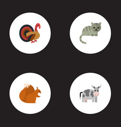Flat icons gobbler chipmunk kitty and other vector