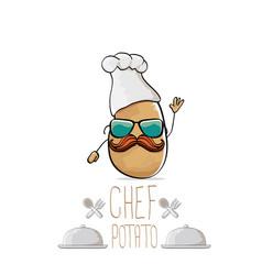 Funny cartoon cute brown chef potato vector