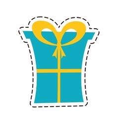 Gift box ribbon package decor color cut line vector