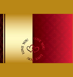 Golden and red background - love you vector