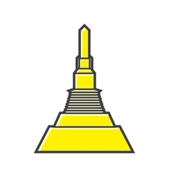 Golden MountThailand icon in flat style vector image