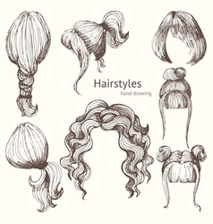 hairstyles set hand drawing vector image vector image