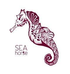Hand drawn tattoo stylised seahorse marine life vector
