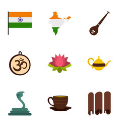 Indian symbols icon set flat style vector