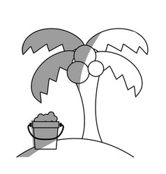Line palm with bottle of sand in the beach on vector