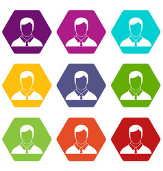 manager icon set color hexahedron vector image vector image